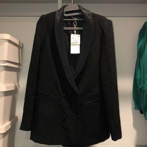 Zara Double Breasted Tuxedo Blazer